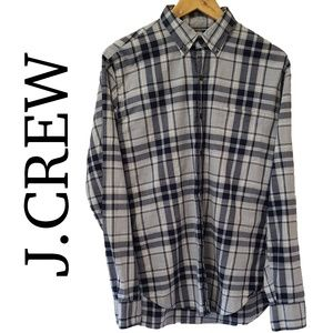 Mens J Crew Blue/Gray Plaid Flannel Shirt Size M